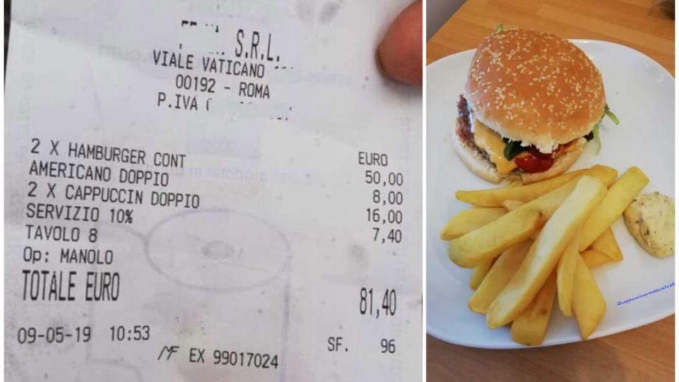 Bëhet virale fatura shokuese, 81 euro 2 hamburger e 2 kapuçino