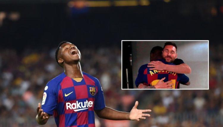 Messi përqafon djaloshin që bëri histori me Barçën ndaj Betisit, por për ta arritur këtë La Liga i kërkoi fillimisht leje nga prindërit