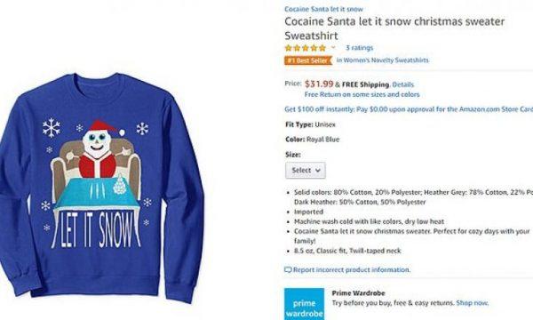 """Bluza me """"Babadimrin duke thithur kokainë"""", produkti më i shitur në Amazon"""