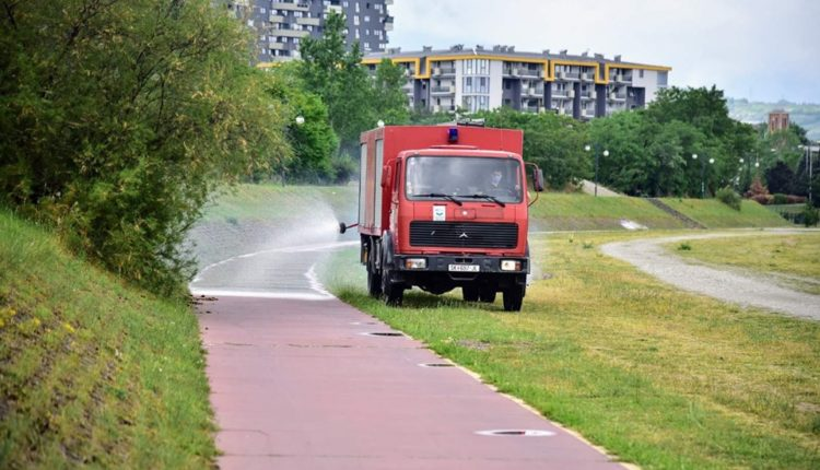 Dezinfektim në bregun e lumit Vardar