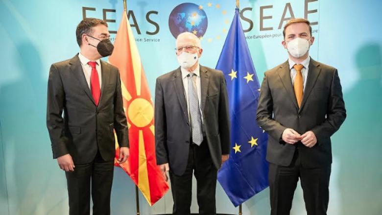 Osmani dhe Dimitrov në takim me Borrellin: Maqedonia e Veriut ka numër të madh të miqve midis vendeve anëtare